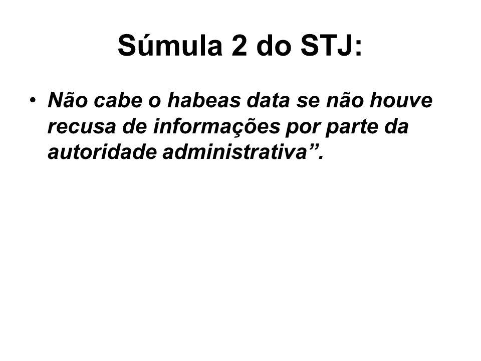 Súmula 2 do STJ: Não cabe o habeas data se não houve recusa de informações por parte da autoridade administrativa.