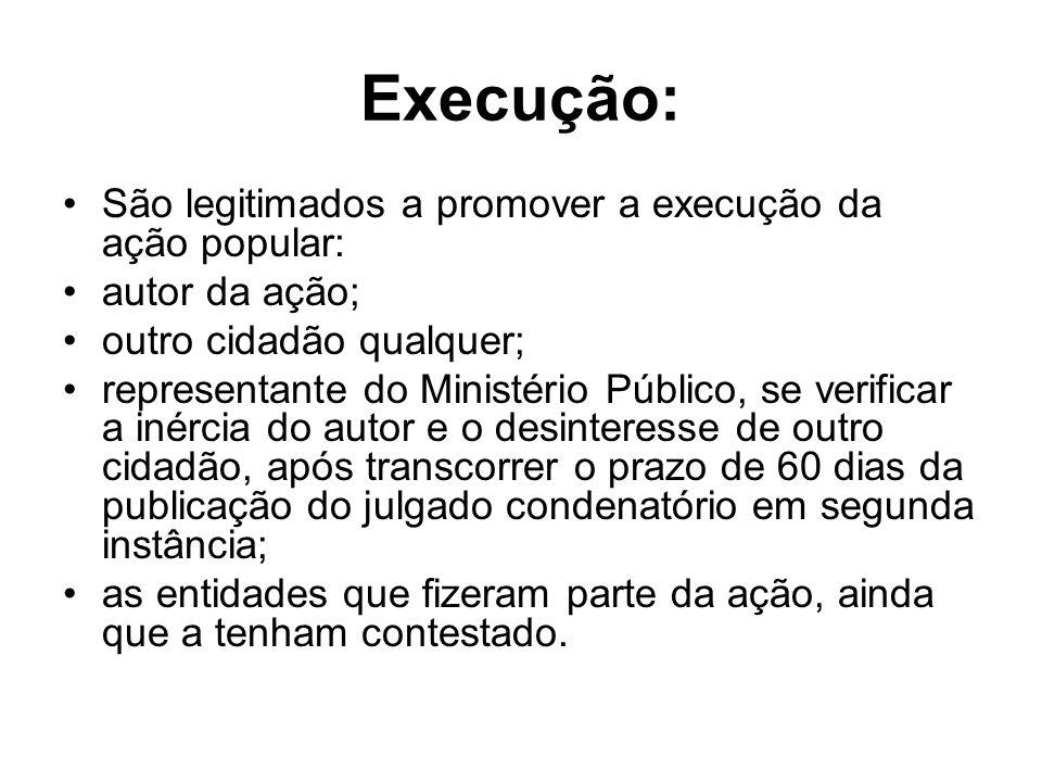 Execução: São legitimados a promover a execução da ação popular: autor da ação; outro cidadão qualquer; representante do Ministério Público, se verifi