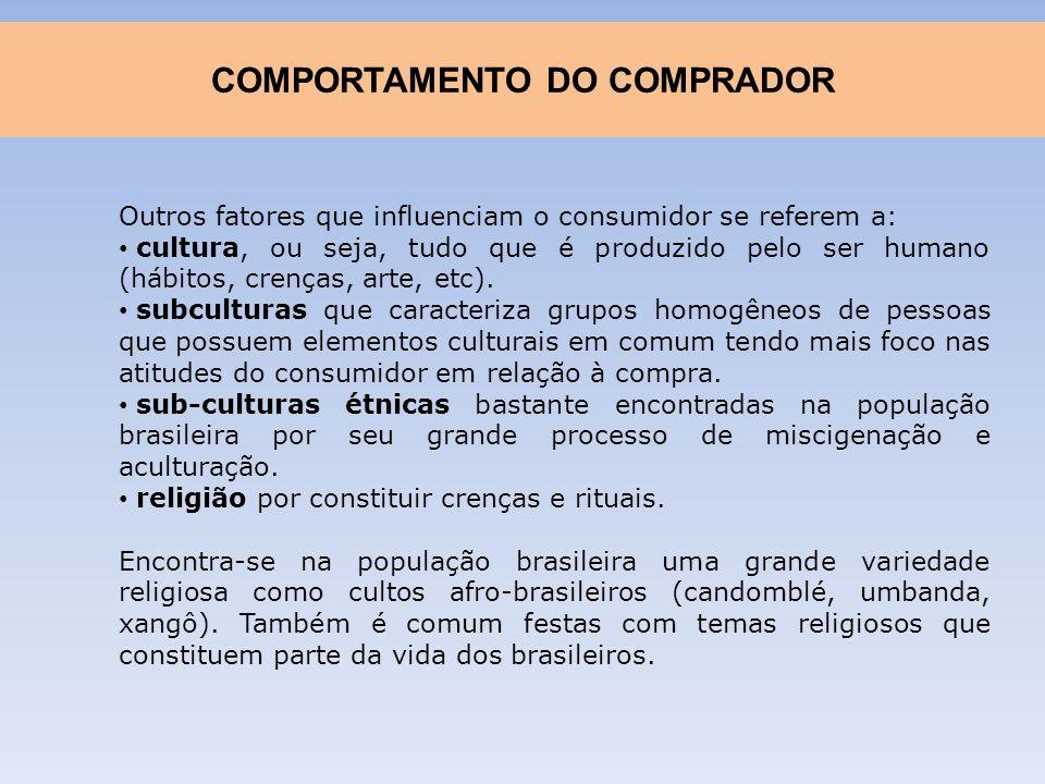 Outros fatores que influenciam o consumidor se referem a: cultura, ou seja, tudo que é produzido pelo ser humano (hábitos, crenças, arte, etc). subcul