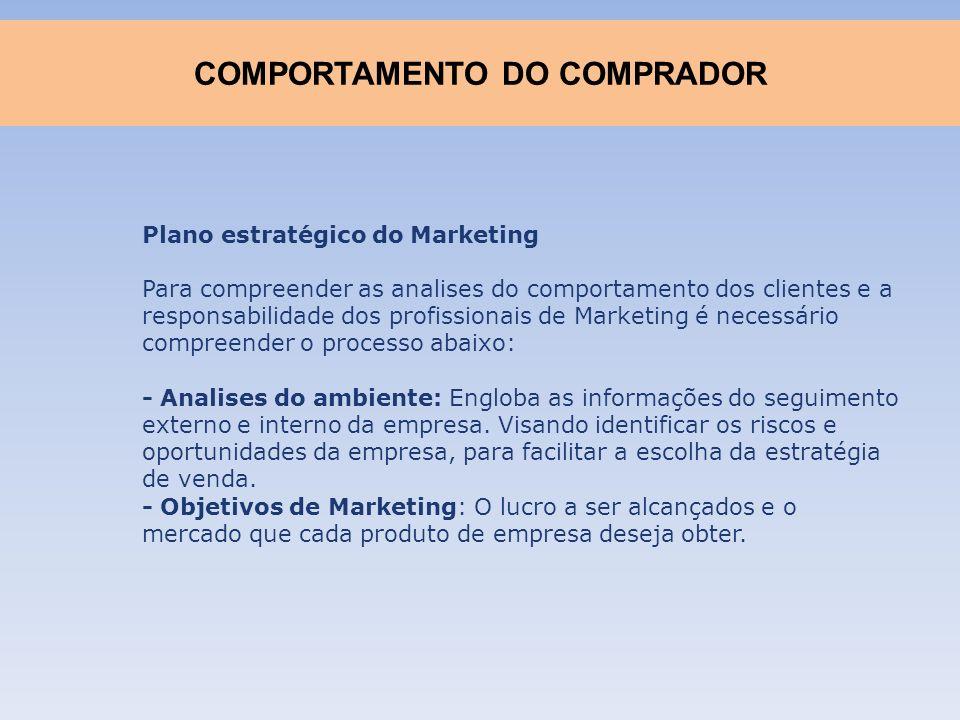 Plano estratégico do Marketing Para compreender as analises do comportamento dos clientes e a responsabilidade dos profissionais de Marketing é necess