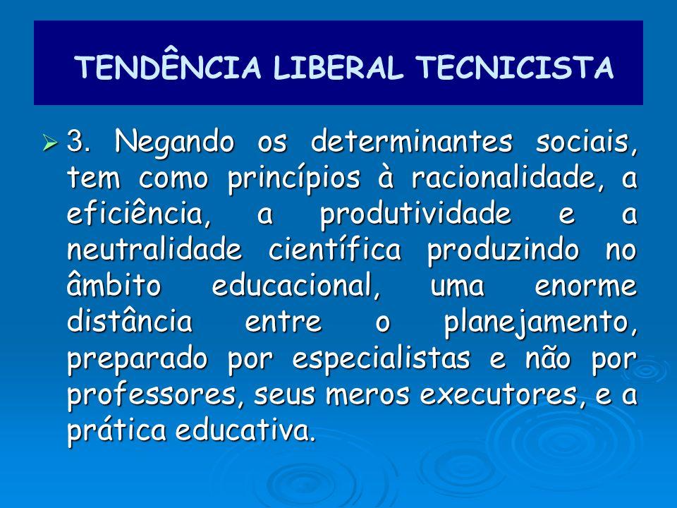 3. Negando os determinantes sociais, tem como princípios à racionalidade, a eficiência, a produtividade e a neutralidade científica produzindo no âmbi