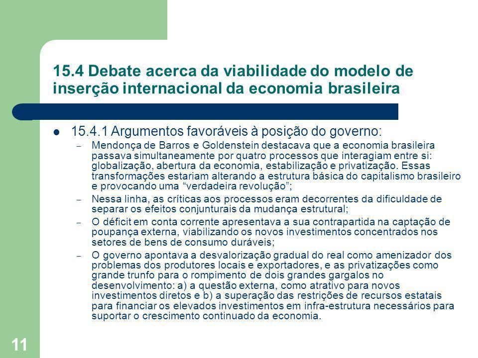 11 15.4 Debate acerca da viabilidade do modelo de inserção internacional da economia brasileira 15.4.1 Argumentos favoráveis à posição do governo: – M