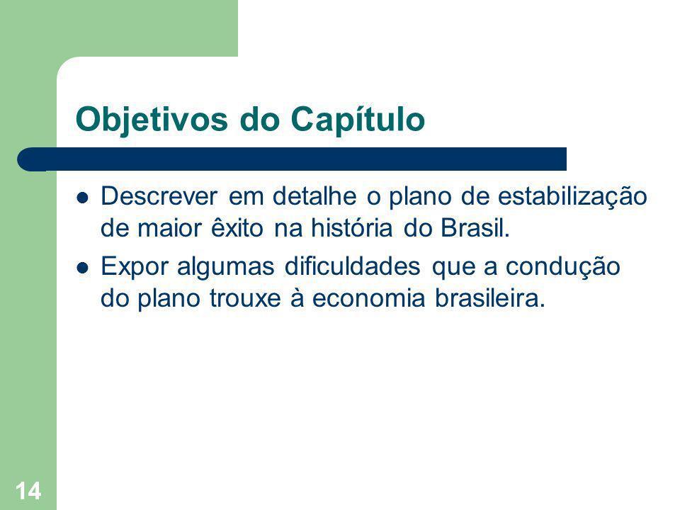 14 Objetivos do Capítulo Descrever em detalhe o plano de estabilização de maior êxito na história do Brasil. Expor algumas dificuldades que a condução