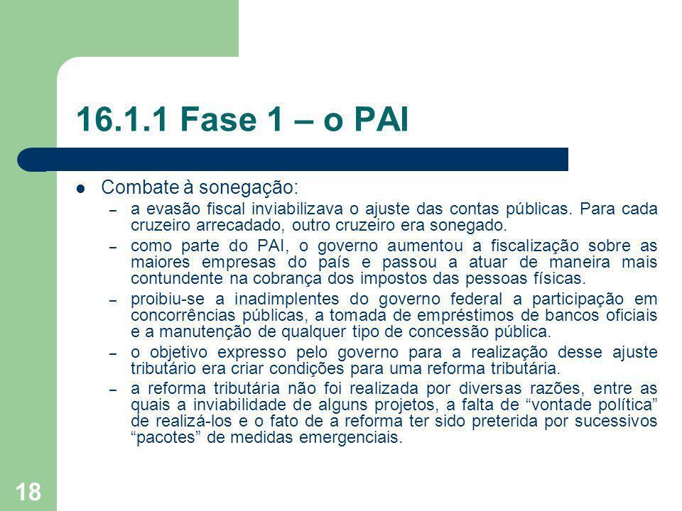 18 16.1.1 Fase 1 – o PAI Combate à sonegação: – a evasão fiscal inviabilizava o ajuste das contas públicas. Para cada cruzeiro arrecadado, outro cruze