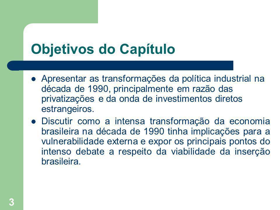 3 Objetivos do Capítulo Apresentar as transformações da política industrial na década de 1990, principalmente em razão das privatizações e da onda de