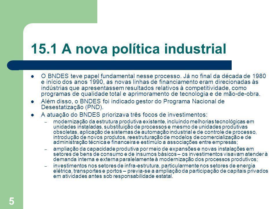 5 15.1 A nova política industrial O BNDES teve papel fundamental nesse processo. Já no final da década de 1980 e início dos anos 1990, as novas linhas