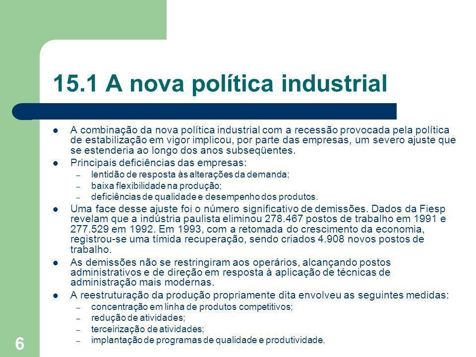 6 15.1 A nova política industrial A combinação da nova política industrial com a recessão provocada pela política de estabilização em vigor implicou,