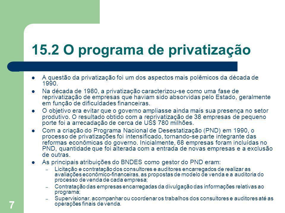 7 15.2 O programa de privatização A questão da privatização foi um dos aspectos mais polêmicos da década de 1990. Na década de 1980, a privatização ca