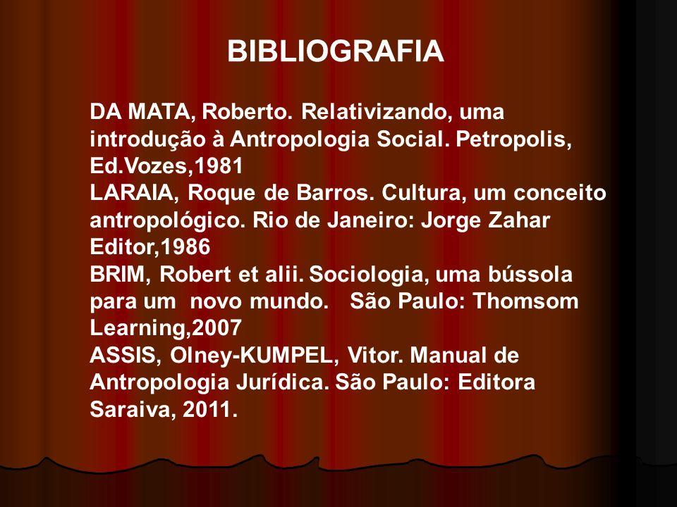 BIBLIOGRAFIA DA MATA, Roberto. Relativizando, uma introdução à Antropologia Social. Petropolis, Ed.Vozes,1981 LARAIA, Roque de Barros. Cultura, um con