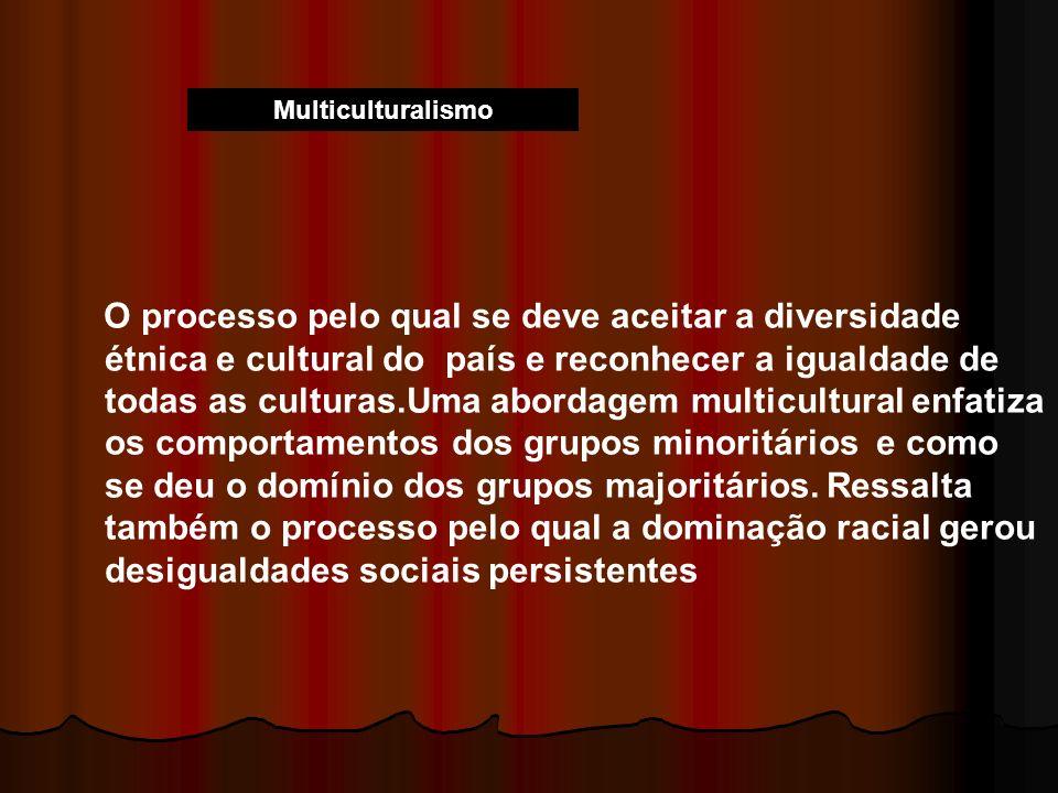 Multiculturalismo O processo pelo qual se deve aceitar a diversidade étnica e cultural do país e reconhecer a igualdade de todas as culturas.Uma abord