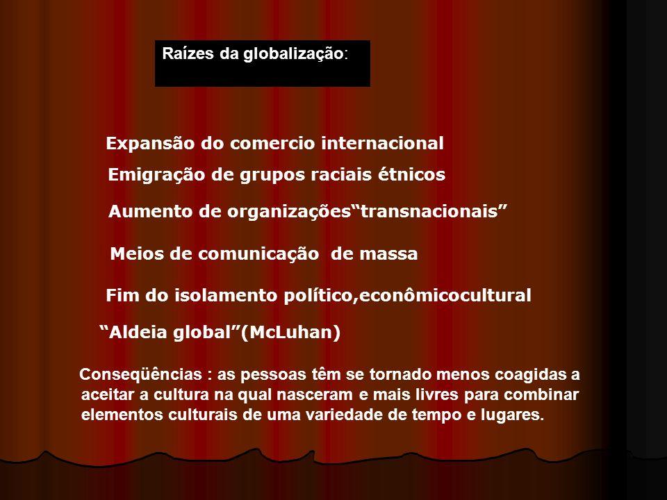 Raízes da globalização: Expansão do comercio internacional Emigração de grupos raciais étnicos Aumento de organizaçõestransnacionais Meios de comunica