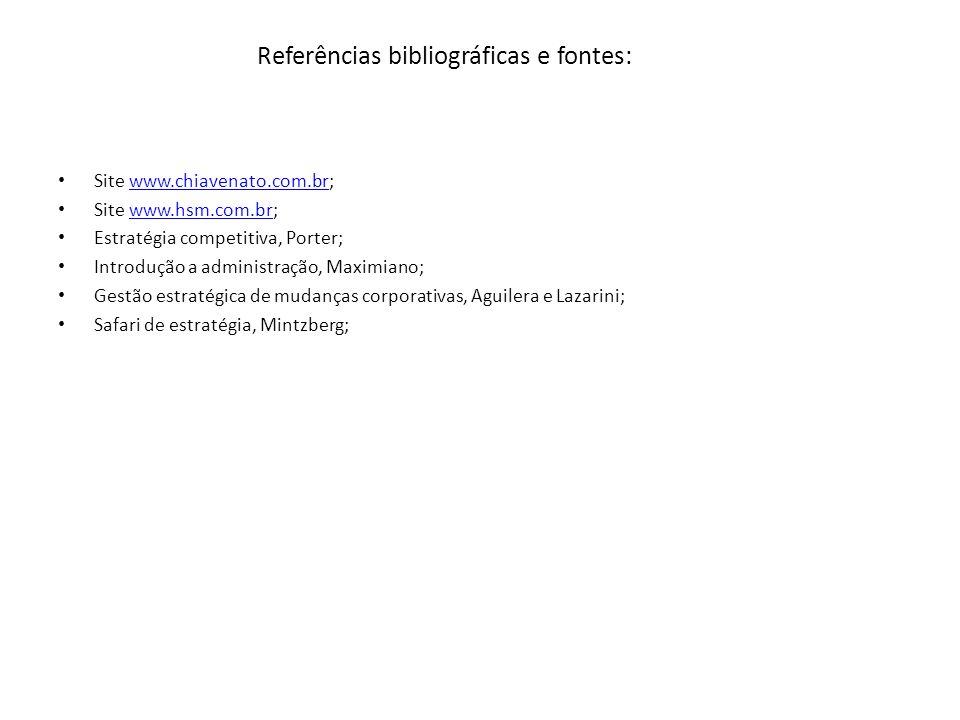 Referências bibliográficas e fontes: Site www.chiavenato.com.br;www.chiavenato.com.br Site www.hsm.com.br;www.hsm.com.br Estratégia competitiva, Porte