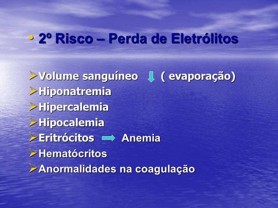 2º Risco – Perda de Eletrólitos 2º Risco – Perda de Eletrólitos Volume sanguíneo ( evaporação) Volume sanguíneo ( evaporação) Hiponatremia Hiponatremi