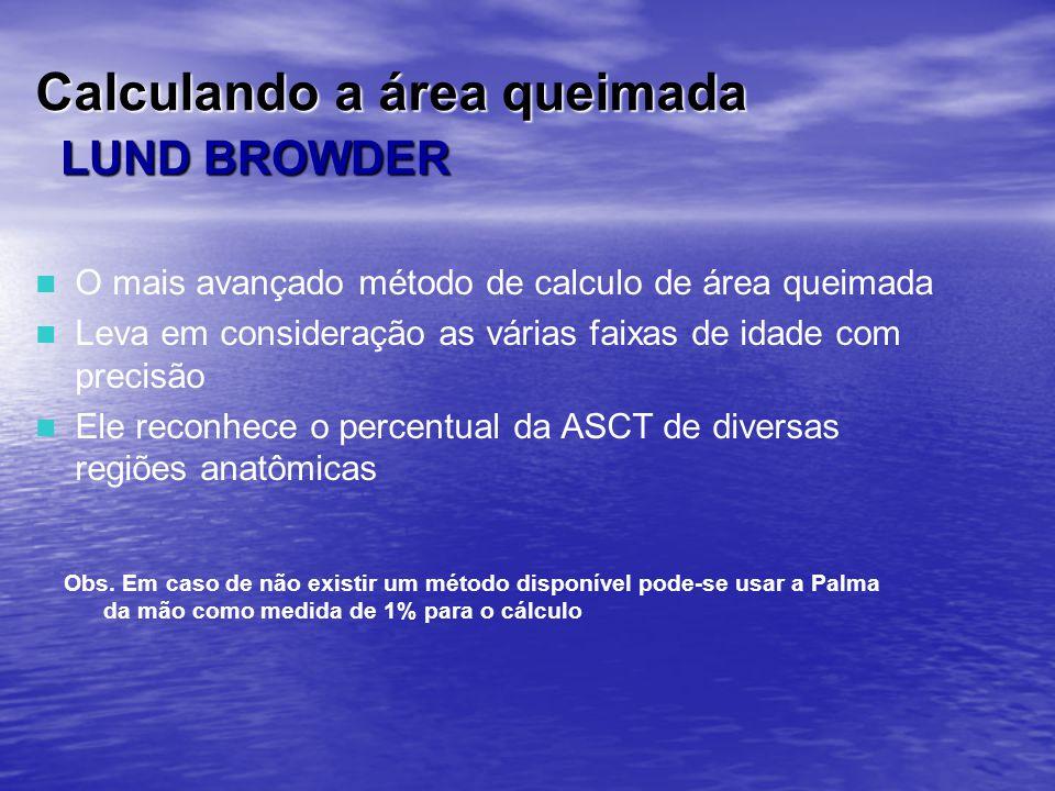 Calculando a área queimada LUND BROWDER O mais avançado método de calculo de área queimada Leva em consideração as várias faixas de idade com precisão
