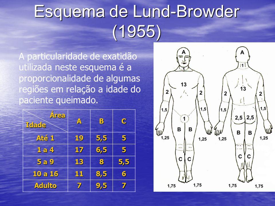 Esquema de Lund-Browder (1955) A particularidade de exatidão utilizada neste esquema é a proporcionalidade de algumas regiões em relação a idade do pa