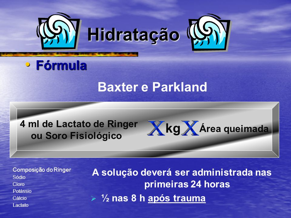 Hidratação Fórmula Fórmula Baxter e Parkland 4 ml de Lactato de Ringer ou Soro Fisiológico kg Área queimada Composição do Ringer Sódio Cloro Potássio