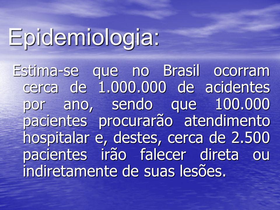 Epidemiologia: Estima-se que no Brasil ocorram cerca de 1.000.000 de acidentes por ano, sendo que 100.000 pacientes procurarão atendimento hospitalar