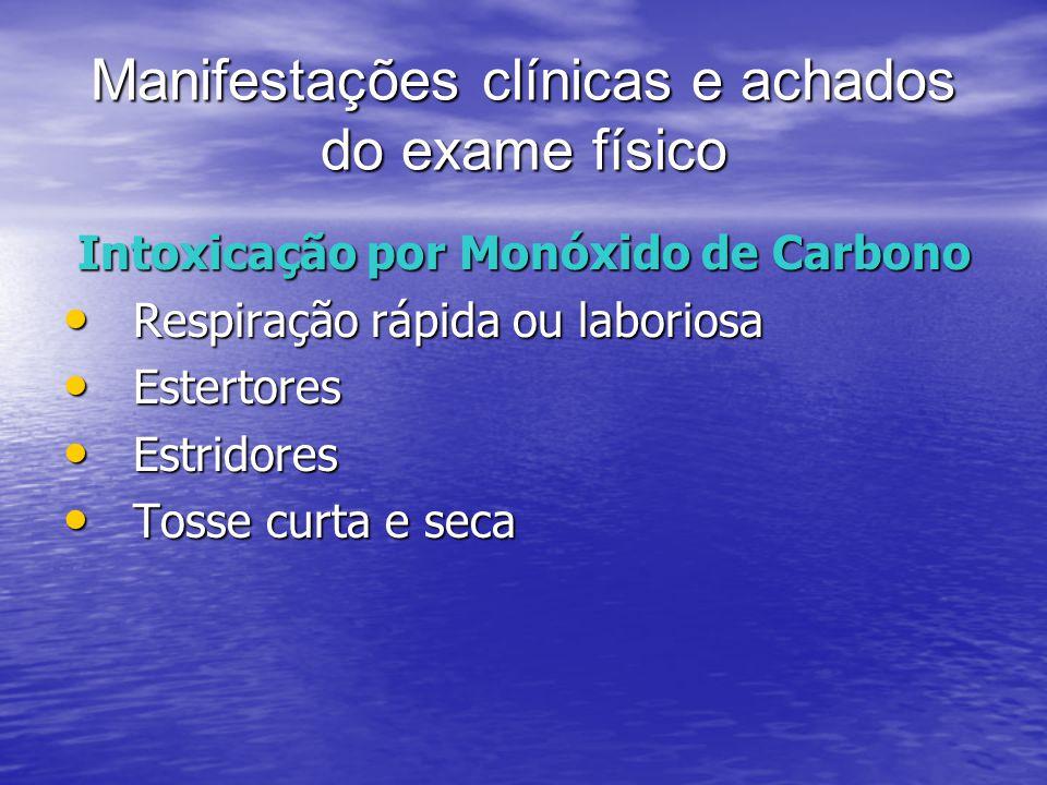 Manifestações clínicas e achados do exame físico Intoxicação por Monóxido de Carbono Respiração rápida ou laboriosa Respiração rápida ou laboriosa Est
