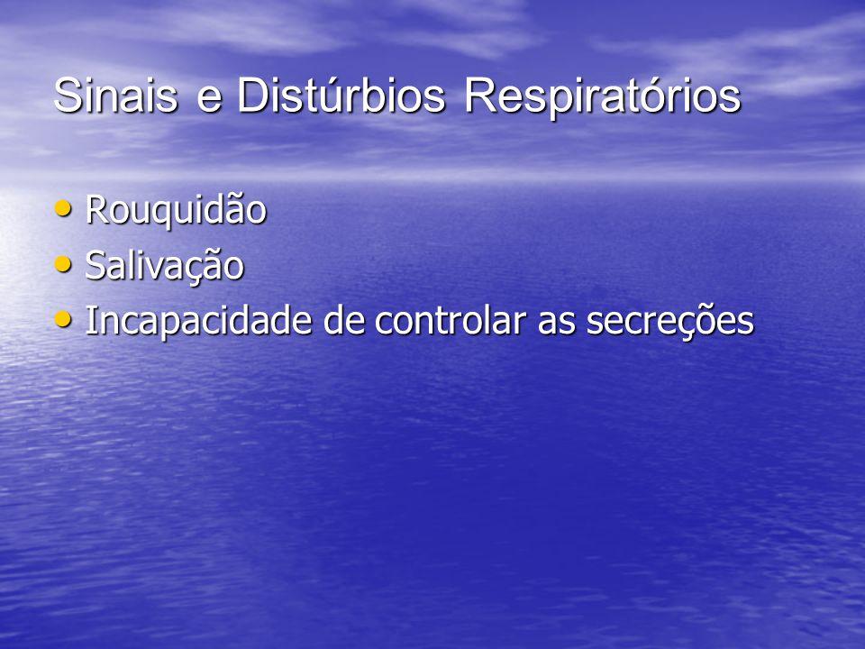 Sinais e Distúrbios Respiratórios Rouquidão Rouquidão Salivação Salivação Incapacidade de controlar as secreções Incapacidade de controlar as secreçõe