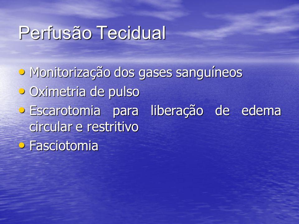 Perfusão Tecidual Monitorização dos gases sanguíneos Monitorização dos gases sanguíneos Oximetria de pulso Oximetria de pulso Escarotomia para liberaç