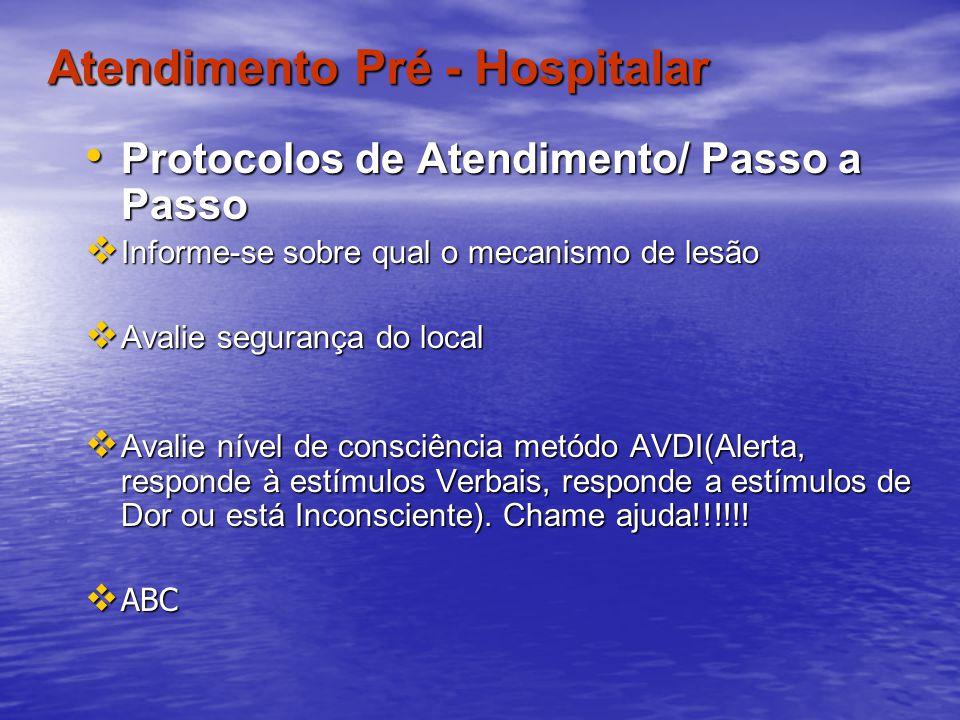 Atendimento Pré - Hospitalar Protocolos de Atendimento/ Passo a Passo Protocolos de Atendimento/ Passo a Passo Informe-se sobre qual o mecanismo de le
