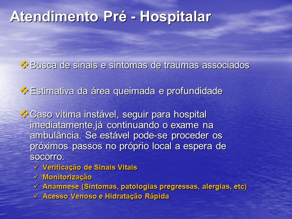 Atendimento Pré - Hospitalar Busca de sinais e sintomas de traumas associados Busca de sinais e sintomas de traumas associados Estimativa da área quei