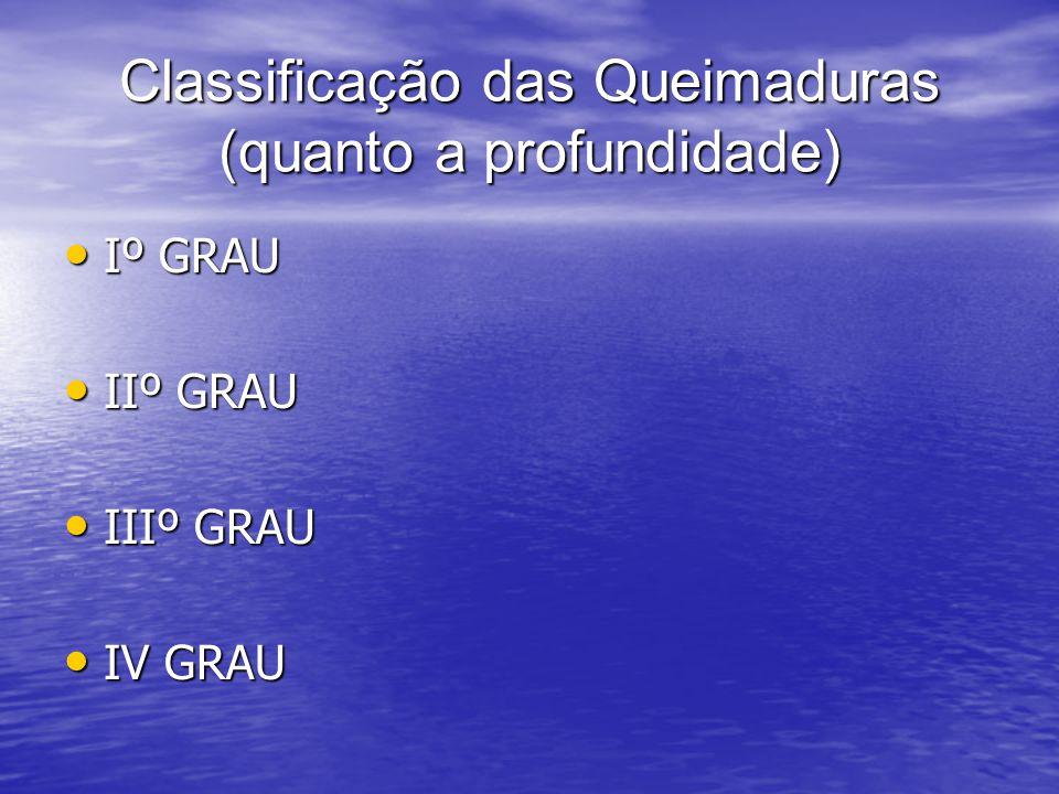 Classificação das Queimaduras (quanto a profundidade) Iº GRAU Iº GRAU IIº GRAU IIº GRAU IIIº GRAU IIIº GRAU IV GRAU IV GRAU