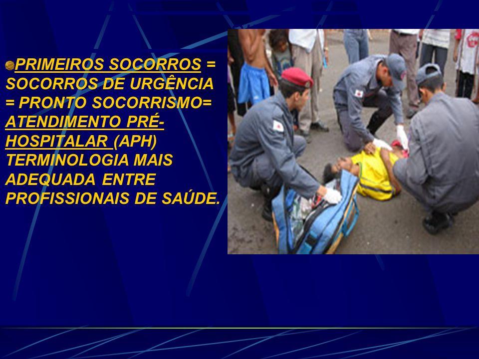 SINONÍMIA PRIMEIROS SOCORROS = SOCORROS DE URGÊNCIA = PRONTO SOCORRISMO= ATENDIMENTO PRÉ- HOSPITALAR (APH) TERMINOLOGIA MAIS ADEQUADA ENTRE PROFISSIONAIS DE SAÚDE.