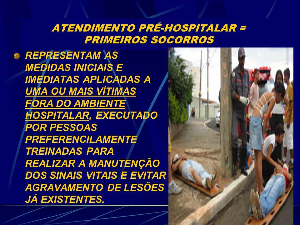 ATENDIMENTO PRÉ-HOSPITALAR = PRIMEIROS SOCORROS REPRESENTAM AS MEDIDAS INICIAIS E IMEDIATAS APLICADAS A UMA OU MAIS VÍTIMAS FORA DO AMBIENTE HOSPITALAR, EXECUTADO POR PESSOAS PREFERENCILAMENTE TREINADAS PARA REALIZAR A MANUTENÇÃO DOS SINAIS VITAIS E EVITAR AGRAVAMENTO DE LESÕES JÁ EXISTENTES.