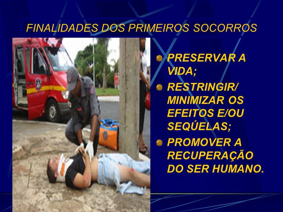 FINALIDADES DOS PRIMEIROS SOCORROS PRESERVAR A VIDA; RESTRINGIR/ MINIMIZAR OS EFEITOS E/OU SEQÚELAS; PROMOVER A RECUPERAÇÃO DO SER HUMANO.
