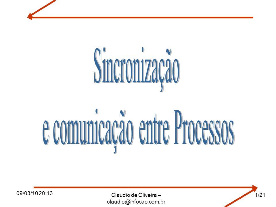 09/03/10 20:13 Claudio de Oliveira – claudio@infocao.com.br Definições Década de 60, surgimento de sistemas multiprogramáveis.