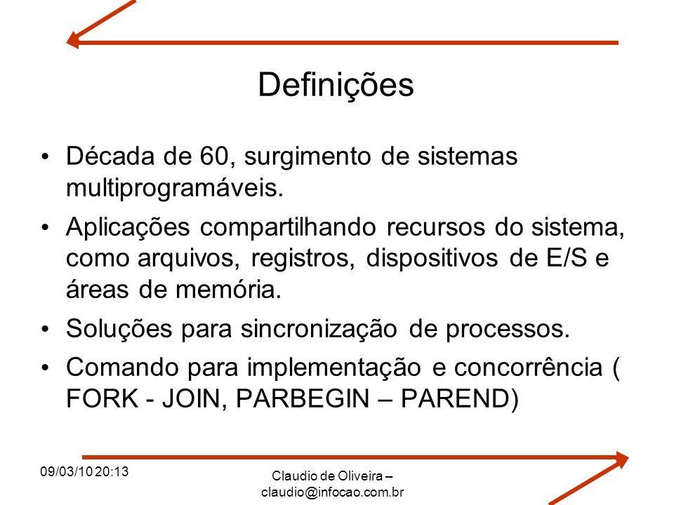 09/03/10 20:13 Claudio de Oliveira – claudio@infocao.com.br Definições Década de 60, surgimento de sistemas multiprogramáveis. Aplicações compartilhan