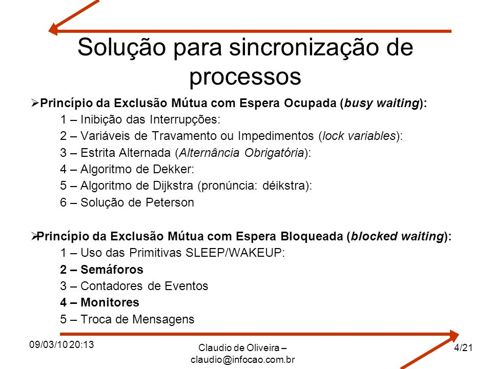 09/03/10 20:13 Claudio de Oliveira – claudio@infocao.com.br 4/21 Solução para sincronização de processos Princípio da Exclusão Mútua com Espera Ocupad
