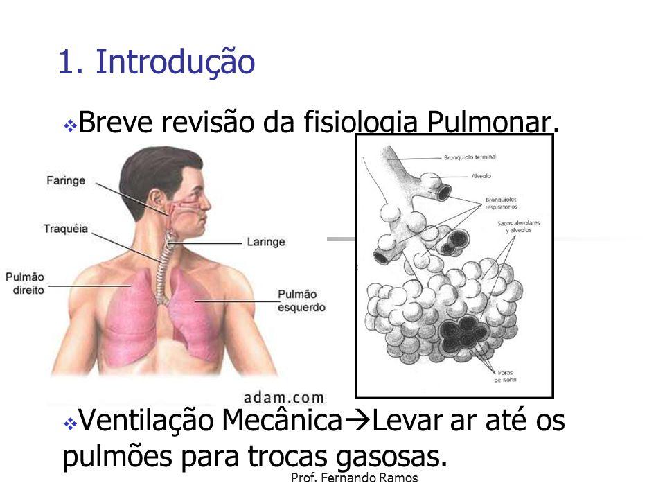 Prof. Fernando Ramos 1. Introdução Breve revisão da fisiologia Pulmonar. Ventilação Mecânica Levar ar até os pulmões para trocas gasosas.