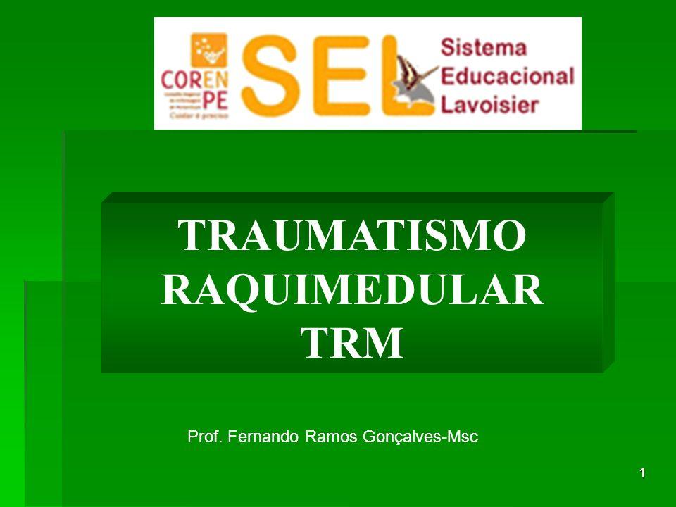 2 Lesão Traumática da raqui(coluna) e medula espinal resultando algum grau de comprometimento temporário ou permanente das funções neurológicas ASIA – American Spinal Injury Association TRM – Traumatismo Raqui- Medular