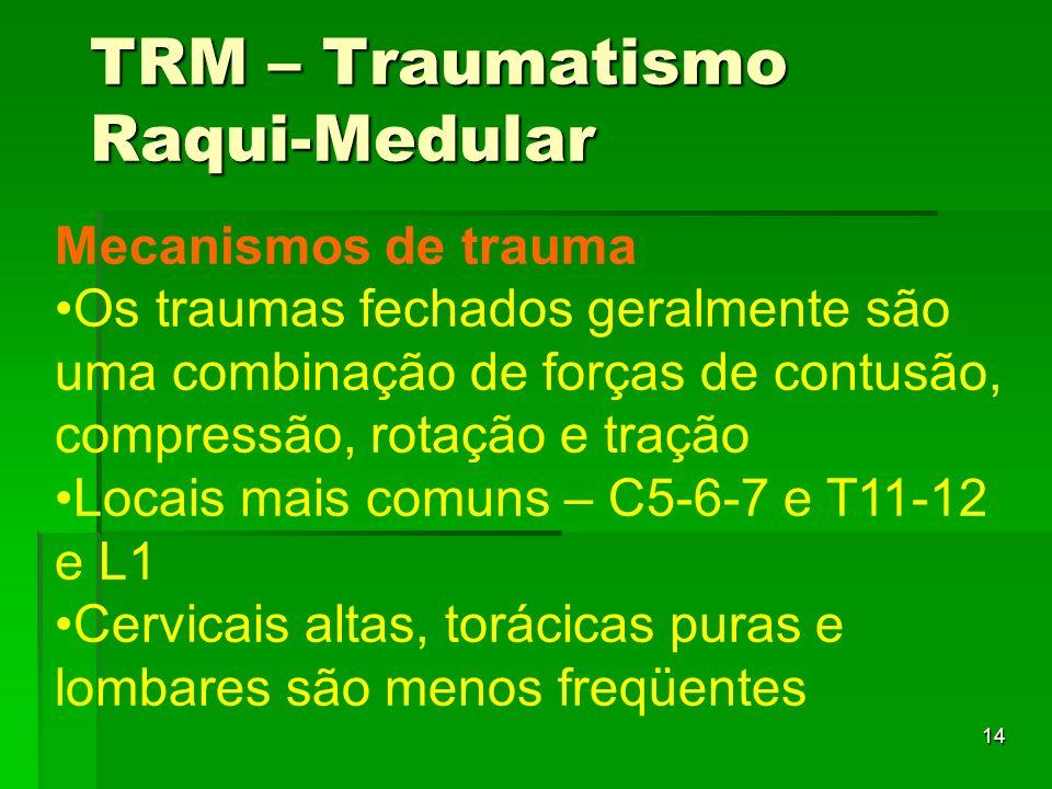 14 Mecanismos de trauma Os traumas fechados geralmente são uma combinação de forças de contusão, compressão, rotação e tração Locais mais comuns – C5-