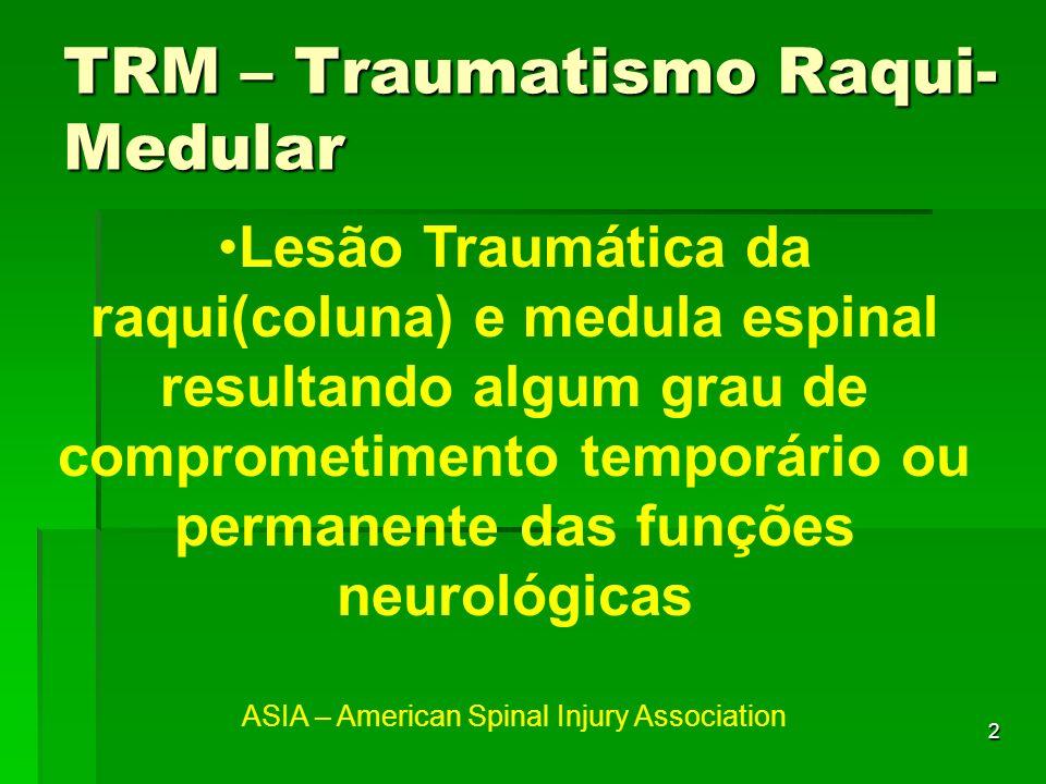 2 Lesão Traumática da raqui(coluna) e medula espinal resultando algum grau de comprometimento temporário ou permanente das funções neurológicas ASIA –