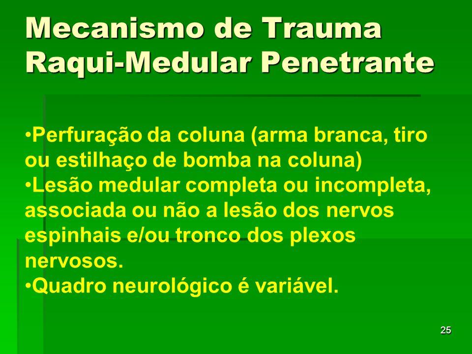 25 Perfuração da coluna (arma branca, tiro ou estilhaço de bomba na coluna) Lesão medular completa ou incompleta, associada ou não a lesão dos nervos