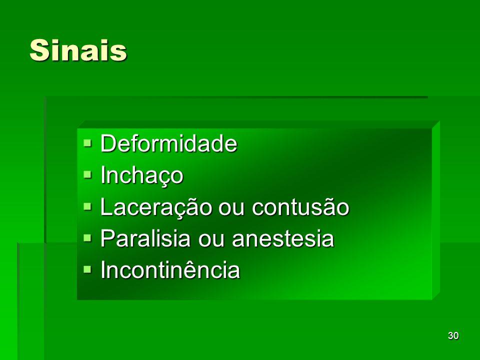 30 Sinais Deformidade Deformidade Inchaço Inchaço Laceração ou contusão Laceração ou contusão Paralisia ou anestesia Paralisia ou anestesia Incontinên