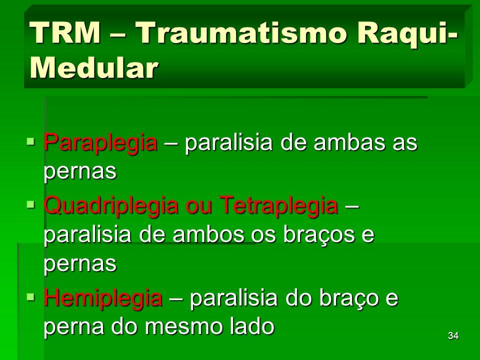 34 Paraplegia – paralisia de ambas as pernas Paraplegia – paralisia de ambas as pernas Quadriplegia ou Tetraplegia – paralisia de ambos os braços e pe
