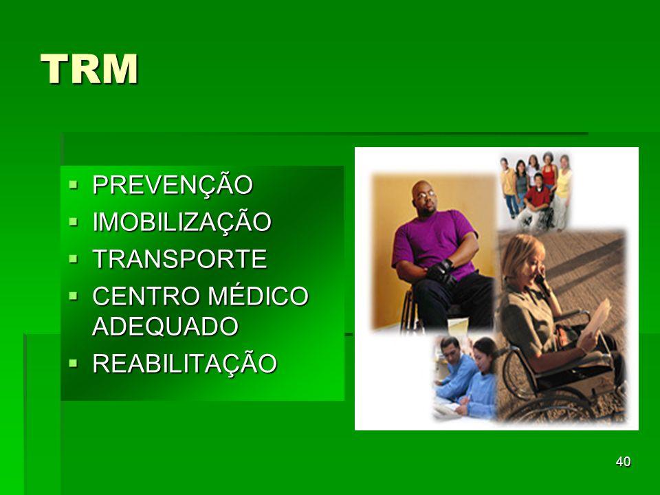 40 TRM PREVENÇÃO PREVENÇÃO IMOBILIZAÇÃO IMOBILIZAÇÃO TRANSPORTE TRANSPORTE CENTRO MÉDICO ADEQUADO CENTRO MÉDICO ADEQUADO REABILITAÇÃO REABILITAÇÃO