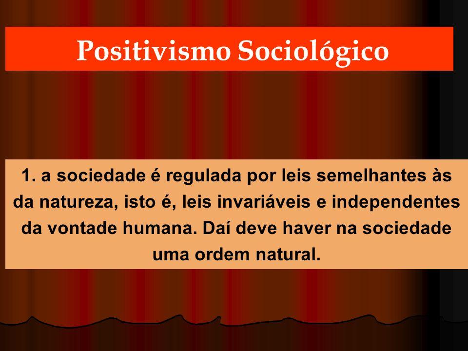 Positivismo Sociológico 1. a sociedade é regulada por leis semelhantes às da natureza, isto é, leis invariáveis e independentes da vontade humana. Daí