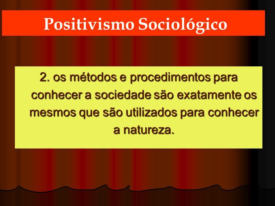 2. os métodos e procedimentos para conhecer a sociedade são exatamente os mesmos que são utilizados para conhecer a natureza. Positivismo Sociológico