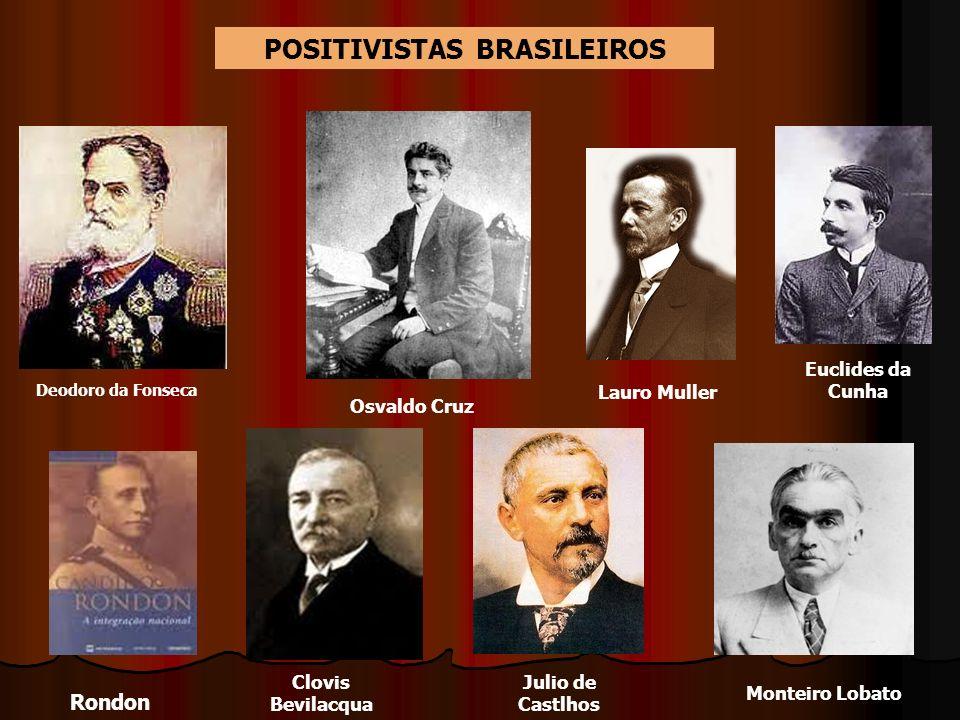 Deodoro da Fonseca Euclides da Cunha Lauro Muller Rondon Clovis Bevilacqua Julio de Castlhos Monteiro Lobato POSITIVISTAS BRASILEIROS Osvaldo Cruz