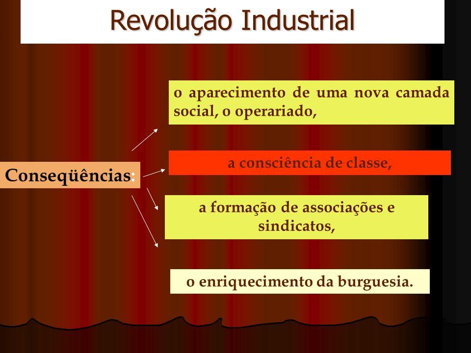 Revolução Industrial Conseqüências: o aparecimento de uma nova camada social, o operariado, a consciência de classe, a formação de associações e sindi