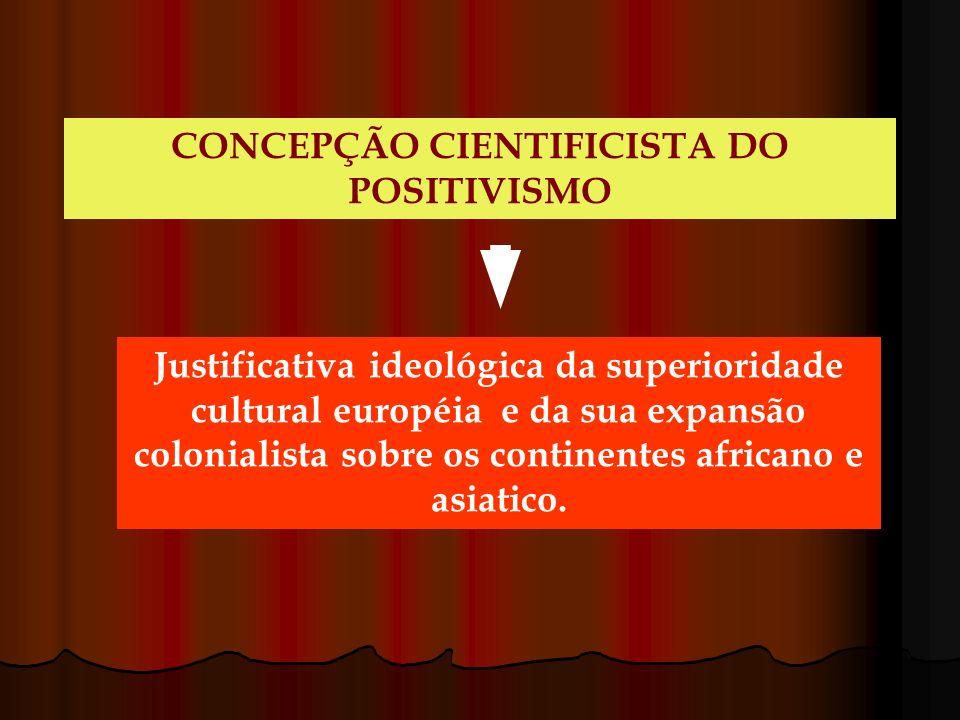 CONCEPÇÃO CIENTIFICISTA DO POSITIVISMO Justificativa ideológica da superioridade cultural européia e da sua expansão colonialista sobre os continentes