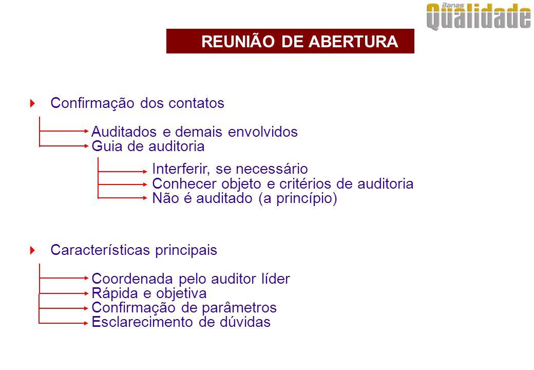 Confirmação dos contatos Auditados e demais envolvidos Guia de auditoria REUNIÃO DE ABERTURA Interferir, se necessário Conhecer objeto e critérios de auditoria Não é auditado (a princípio) Características principais Coordenada pelo auditor líder Rápida e objetiva Confirmação de parâmetros Esclarecimento de dúvidas