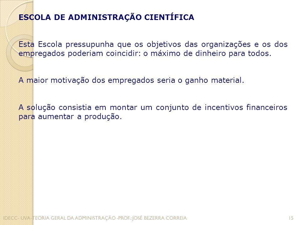 A ESCOLA CLÁSSICA A ênfase da teoria clássica é a estrutura organizacional e as funções do administrador.