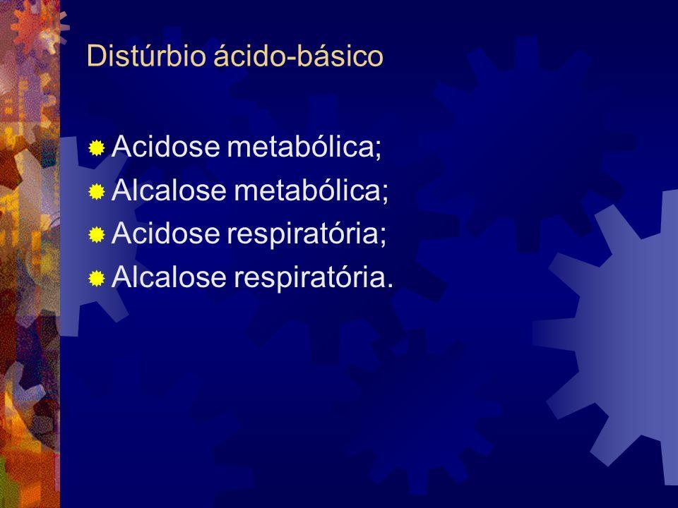 Distúrbio ácido-básico Acidose metabólica; Alcalose metabólica; Acidose respiratória; Alcalose respiratória.