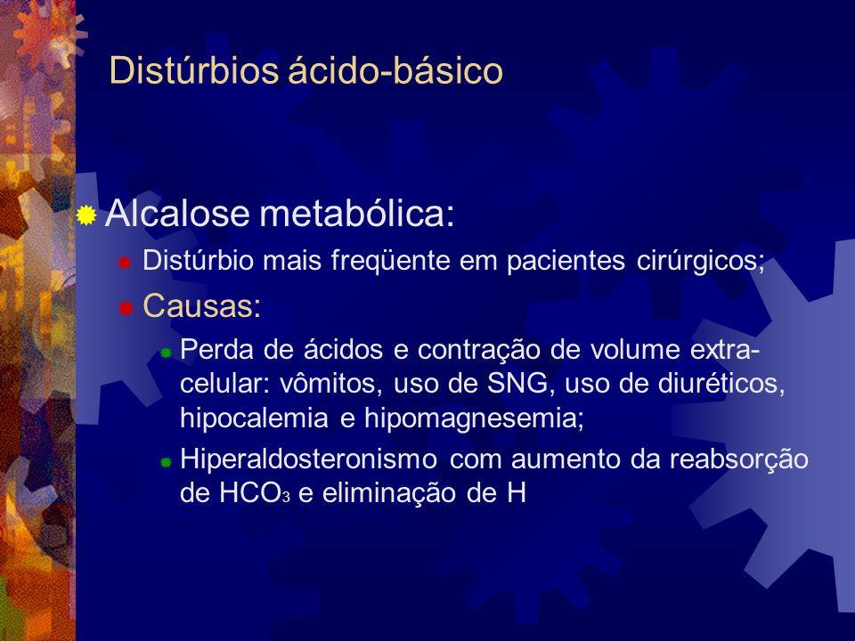 Distúrbios ácido-básico Alcalose metabólica: Distúrbio mais freqüente em pacientes cirúrgicos; Causas: Perda de ácidos e contração de volume extra- celular: vômitos, uso de SNG, uso de diuréticos, hipocalemia e hipomagnesemia; Hiperaldosteronismo com aumento da reabsorção de HCO 3 e eliminação de H